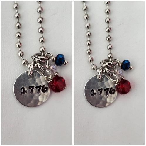 Hammered 1776 Charm Pendant
