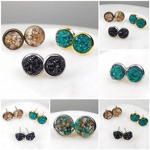 Memorial Ash Stainless Steel Druzy Stone Earrings