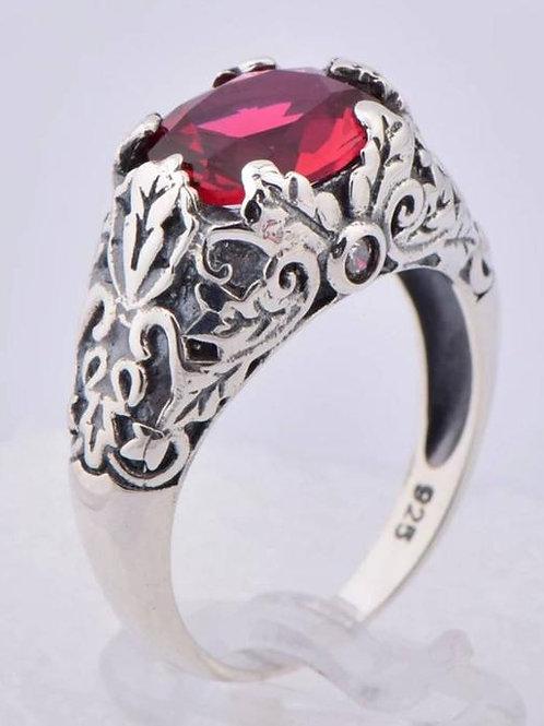 Studiodragonfly19 Vintage Sterling Silver Ruby Cremation Ring