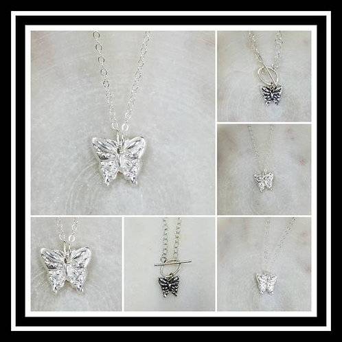Memorial Ash Pure Silver Butterfly Necklace