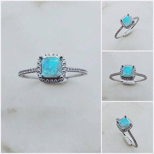 Memorial Ash Princess Halo 10kt White Gold Diamond Cremation Ring