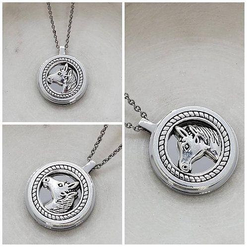 Memorial Ash Stainless Steel Cremation Horse Urn Necklace/Cremation Pendant