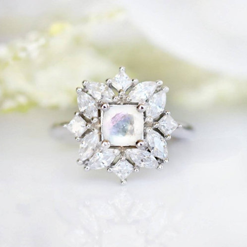 Studiodragonfly19 Memorial Ash Genuine Moonstone Ring/Memorial Ash JewelryPet