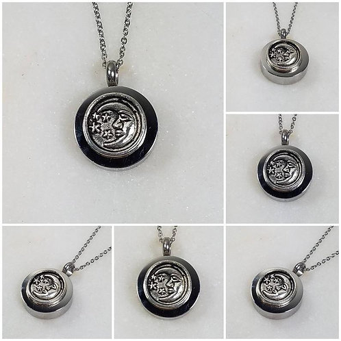 Memorial Ash Stainless Steel Cremation Moon and Stars Urn Necklace/Cremation Pen