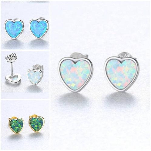 Studiodragonfly19 Memorial Cremation Heart Opal Sterling Silver Earrings