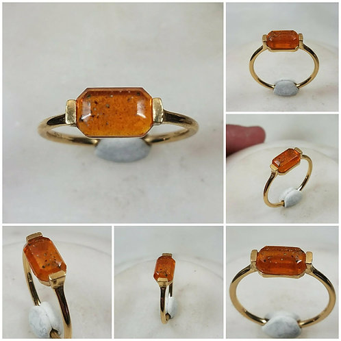 Memorial Ash 10kt Gold Baguette Ring/ Memorial Ash JewelryPet Memorial J