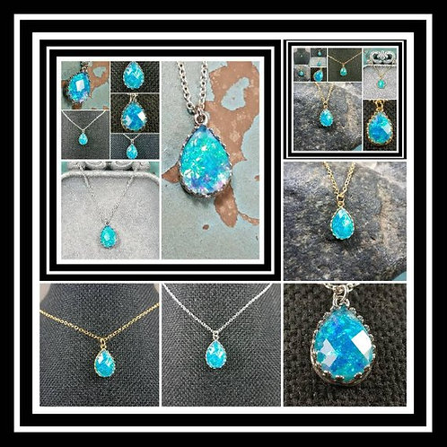 Sterling Silver or Brass Memorial Ash Faceted Tear Drop Stone Necklace