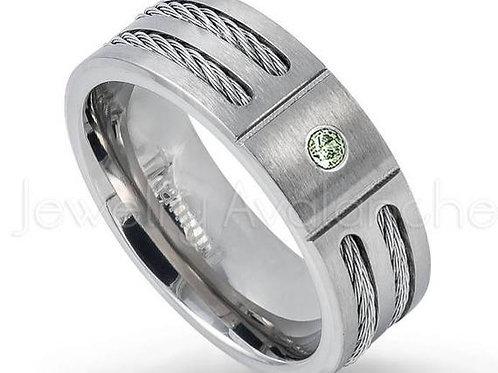 Studiodragonfly19 Mens Memorial Ash Double Cable Titanium Birthstone Ring