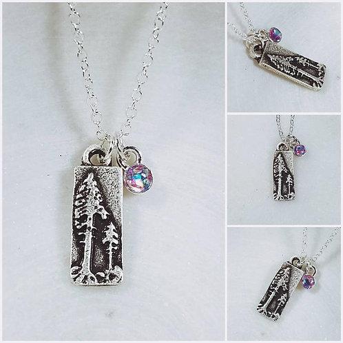 Memorial Ash Pine Trees Pendant Necklace/Cremation Pendant/Pet Memorial Jewelry/
