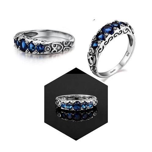 Studiodragonfly19 Memorial Ash Vintage Sterling Silver 6 Stone Sapphire Ring