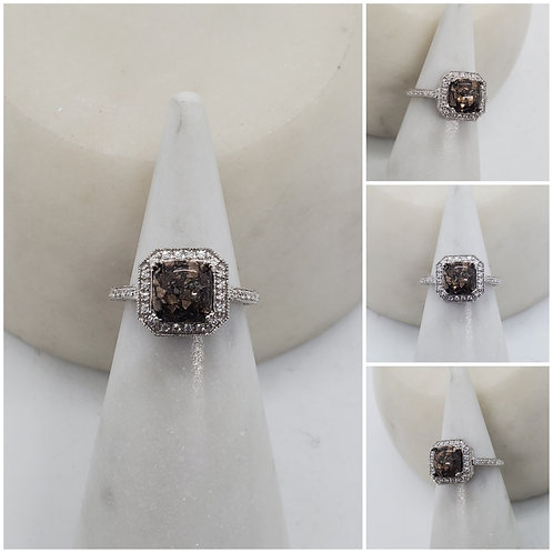 Memorial Ash 10kt White,Yellow,Rose Gold, Sterling Silver Diamond Cremation Ring