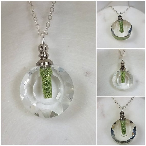 Faceted Glass Round Bottle Memorial Ash Pendant Necklace