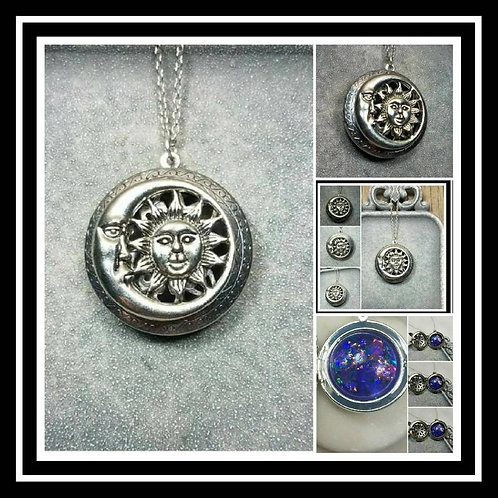 Memorial Ash Sun and Moon Locket Pendant Necklace/Cremation Pendant/Pet Memorial