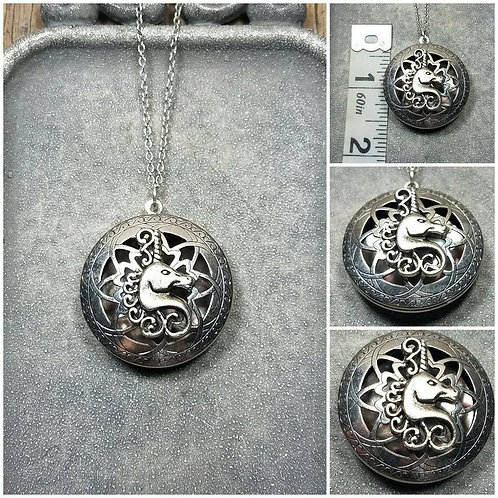 Memorial Ash Unicorn Locket Pendant Necklace/Cremation Pendant/Pet Memorial Jewe