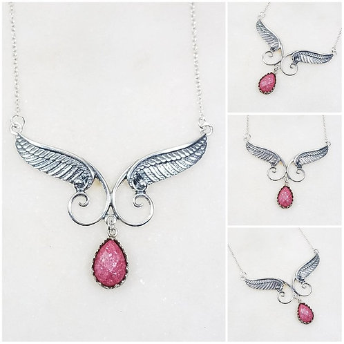 Memorial Ash Sterling Silver Angel Wing Necklace/Cremation Pendant/Pet Memorial