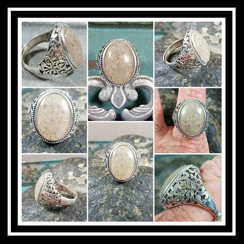 Mens Sterling Silver Memorial Ash Ring/ Sentimental Jewelry