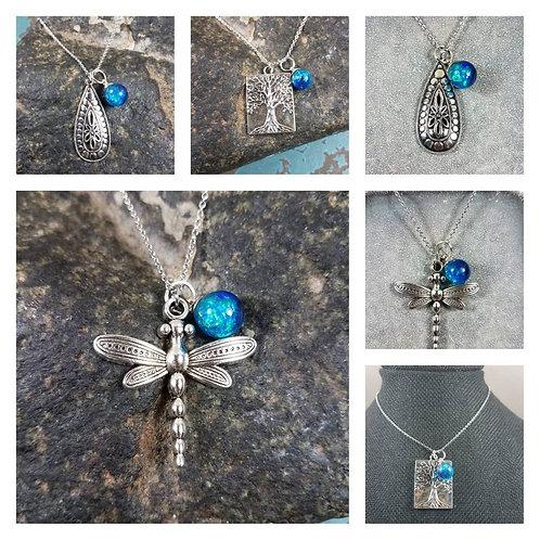 Memorial Ash Sphere Charm Necklace/Cremation Pendant/ Pet Memorial Jewelry/ Memo