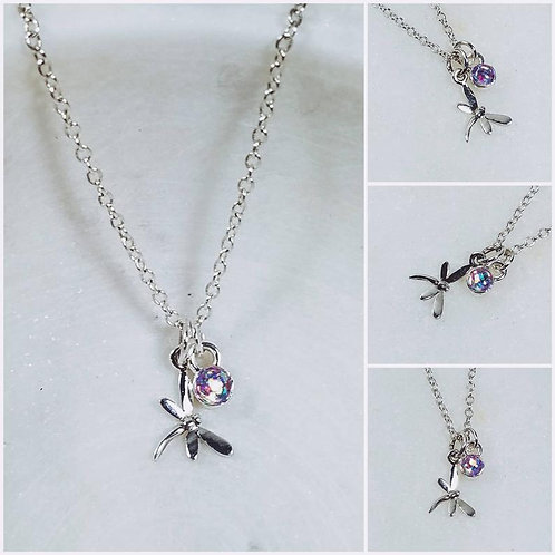 Memorial Ash Dragonfly Necklace/Cremation Sterling Silver Dragonfly Pendant/Pet