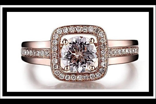 Memorial Ash Solitare 10k Rose Gold Diamond Cremation Ring
