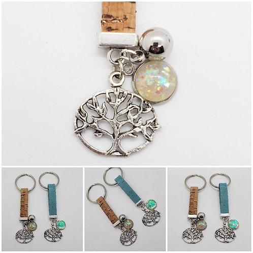Memorial Ash Cork Tree of Life Urn Keychain/Cremation Keychain Bracelet