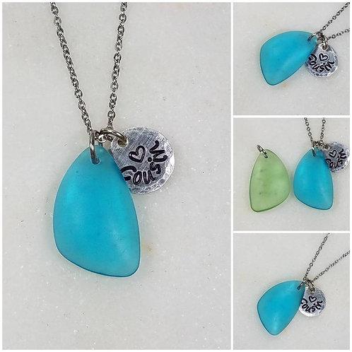 Memorial Ash Beach Glass Initial Pendant Necklace /Cremation Necklace/Pet Ash Me