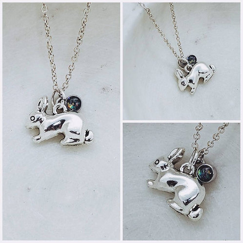 Memorial Ash Cremation Bunny Rabbit Pendant Sterling Silver Charm Necklace