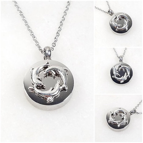 Memorial Ash Stainless Steel Cremation Round Dolphin Urn Necklace/Cremation Pend