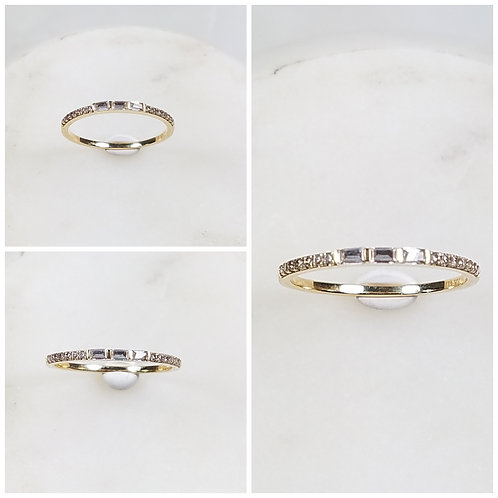 Studiodragonfly19 Memorial Ash Minimalist 10k Gold Baguette Bezel Ring