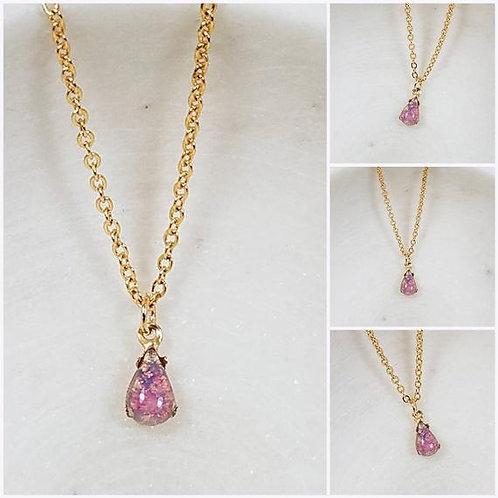 Studiodragonfly19 Cremation Vintage Opal Drop Glass Stone Memorial Ash Necklace