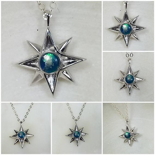Memorial Ash North Star Sterling Silver or 10kt White Gold Cremation Pendant