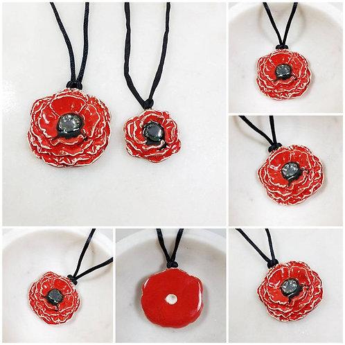 Memorial Ash Ceramic Red Poppy Urn Pendant Necklace/Cremation Necklace/Pet Memor