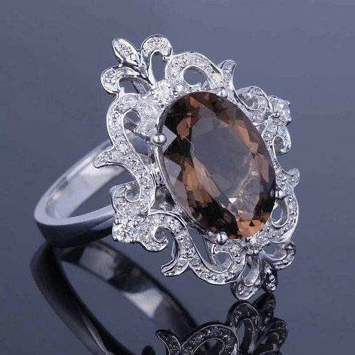 Studiodragonfly19 Memorial Ash Diamond Smoky Topaz Ring/ Memorial Ash JewelryPet