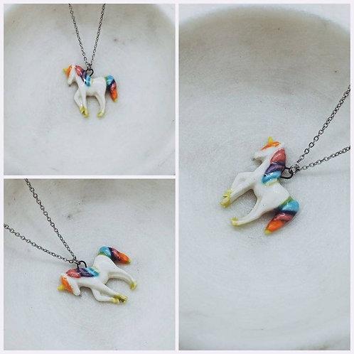 Memorial Ash Ceramic Rainbow Unicorn Urn Pendant Necklace/Cremation Necklace
