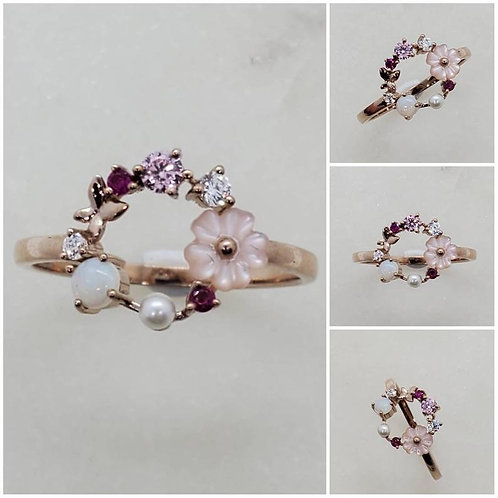 Studiodragonfly19 Pearl CZ and Ruby Memorial Ash Gold Butterfly Wreath Crematio
