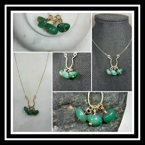 Memorial Ash Cremation Hammered Gold Filled Jade Artisan Necklace/Green Jade Pen