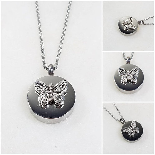 Memorial Ash Stainless Steel Cremation Butterfly Urn Necklace/Cremation Pendant/