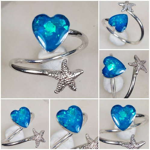 Memorial Ash Sterling Silver Heart and Starfish Wrap Ring /Memorial Ash Crematio