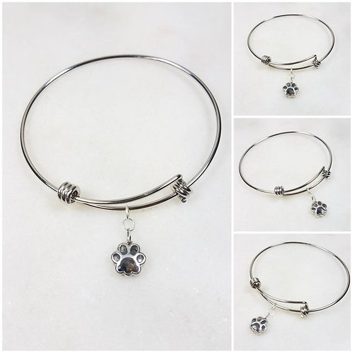 Memorial Ash Stainless Steel Sterling Silver Paw Cremation Charm Bangle Bracelet