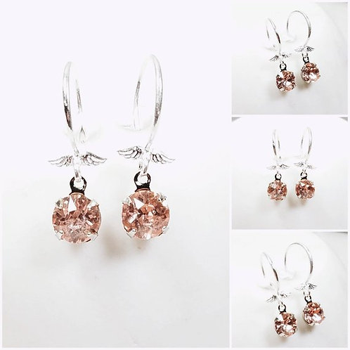 Studiodragonfly19 Cremation Silver Wing Vintage Pink Roseline Glass Earrings