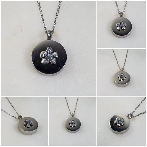 Memorial Ash Stainless Steel Sterling Silver Flower Cremation Urn Necklace/Crema