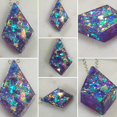 Sliding Diamond Galaxy Memorial Ash Necklace/Memorial Necklace /Pet Memorial Nec