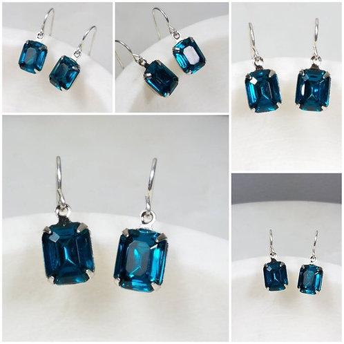 Studiodragonfly19 Cremation Vintage Blue Glass Stone Memorial Ash Earrings
