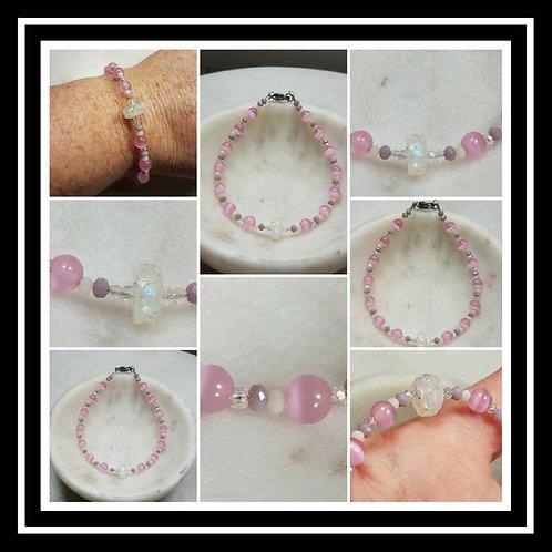 Memorial Ash Rose Quartz Beaded Bracelet/Cremation Charm Bracelet/Pet Memorial J