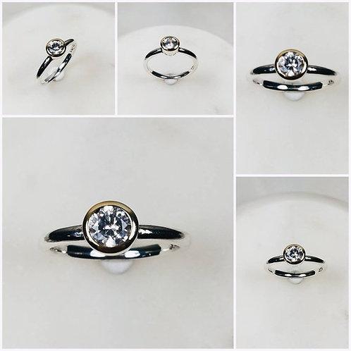 Studiodragonfly19 Memorialmemorial Ash Minimalist Rose, White,Gold CZ Bezel Ring
