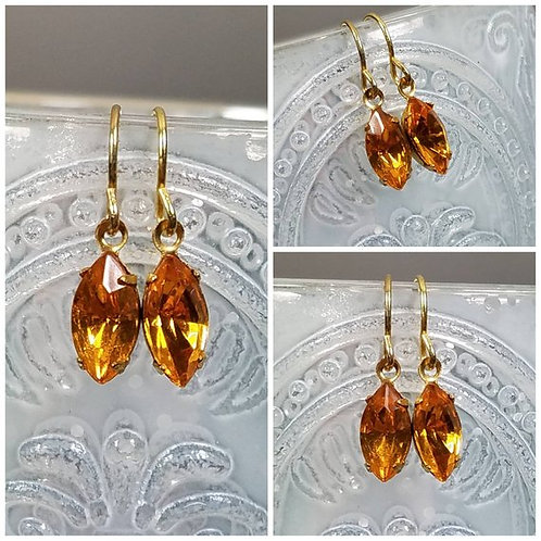 Studiodragonfly19 Cremation Vintage Crystal Drop Navette Topaz Memorial Earrings