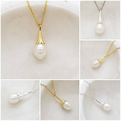 Memorial Ash Fresh Water Pearl Tulip Bail Pendant Necklace/Cremation Memorial