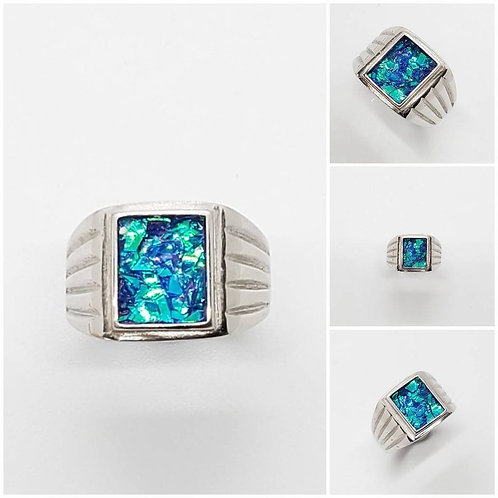 Sterling Silver Rectangle Memorial Ash Ring/ Memorial Jewelry