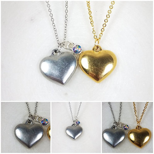Memorial Ash Stainless Steel Heart Sterling Silver Bezel Pendant Necklace/Cremat