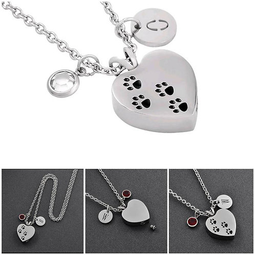 Memorial Stainless Steel Cremation Heart Paw Urn Necklace/Initial Birthstone Pen
