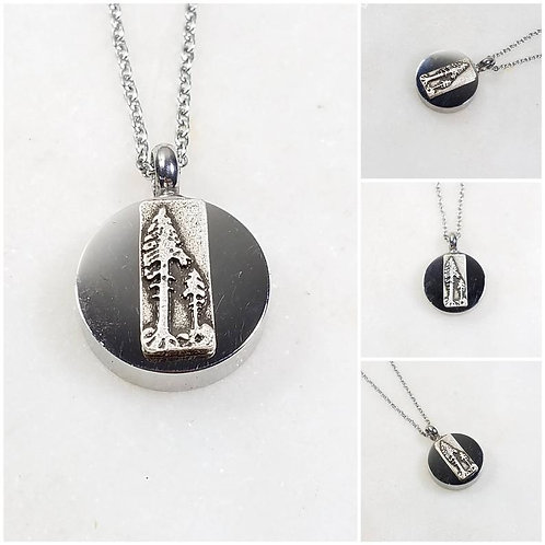 Memorial Ash Stainless Steel Cremation Pine Tree Urn Necklace/Cremation Pendant/